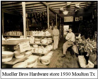 Mueller Bros Hardware store 1930 Moulton TX